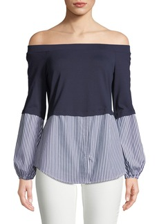 Neiman Marcus Off-The-Shoulder Striped-Blocked Blouse