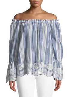 Neiman Marcus Off-The-Shoulder Striped Embroidered Blouse