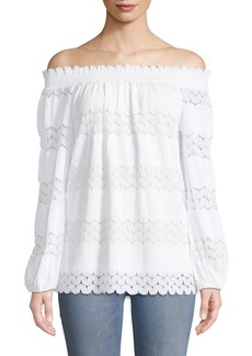 Neiman Marcus Off-The-Shoulder Wavy-Pleated Blouse