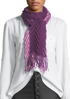 Neiman Marcus Ombre Pleated Wool Scarf with Fringe