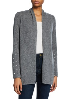 Neiman Marcus Open-Front Cashmere Cardigan with Pearly Cuff Detail