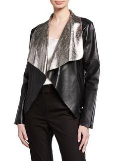 Neiman Marcus Open-Front Coconut Crackle Leather Jacket