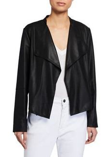 Neiman Marcus Open-Front Draped Leather Jacket