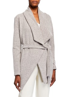 Neiman Marcus Open-Front Long-Sleeve Collared Jacket