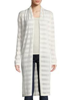 Neiman Marcus Open-Front Mesh Stripe Cashmere-Blend Duster Cardigan