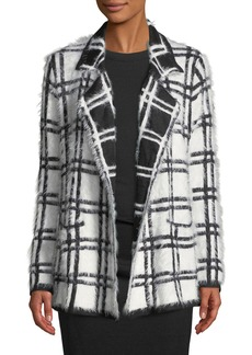 Neiman Marcus Open-Front Plaid Eyelash Knit Cardigan