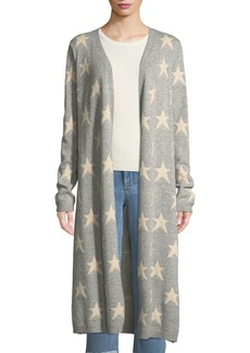 Neiman Marcus Open-Front Star-Intarsia Cashmere Duster Cardigan