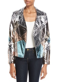 Neiman Marcus Patchwork Leather Moto Jacket