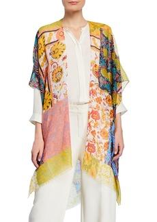 Neiman Marcus Patchwork Print Open-Front Kimono