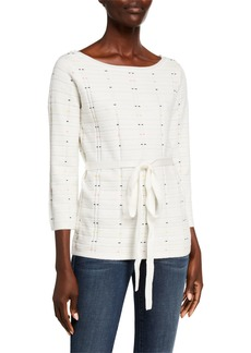 Neiman Marcus Patterned Boat-Neck Sweater w/ Detachable Belt