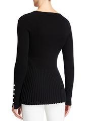 Neiman Marcus Pearl Cuff Ribbed Peplum Cashmere Sweater