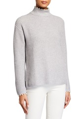 Neiman Marcus Pearl-Trimmed Cashmere Sweater