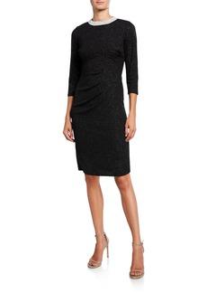 Neiman Marcus Pearlescent Collar Sheath Dress