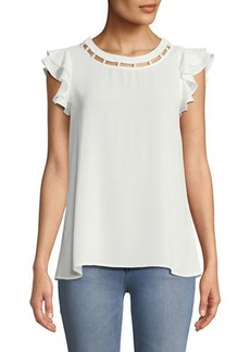 Neiman Marcus Pearly-Neck Flutter Sleeve Blouse