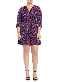 Neiman Marcus Perfect Faux-Wrap Mini-Dress  Plus Size