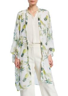 Neiman Marcus Pineapple Print Open-Front Kimono