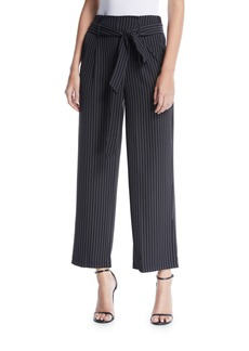 Neiman Marcus Pinstriped Paperbag Pants