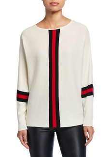 Neiman Marcus Placed Striped Long Sleeve Sweater