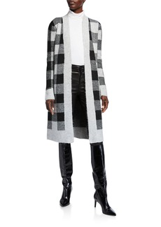 Neiman Marcus Plaid Double Jacquard Duster