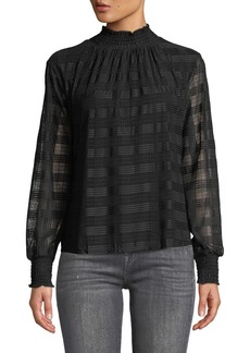 Neiman Marcus Plaid-Embroidered Chiffon Smocked Neck Blouse