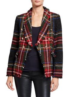 Neiman Marcus Plaid Fringe Jacket