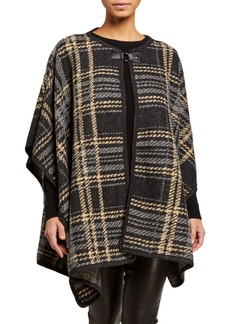 Neiman Marcus Plaid Hook-and-Eye Ruana