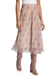 Neiman Marcus Plaid Midi A-Line Skirt