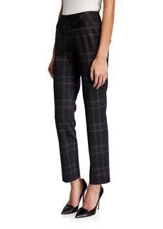 Neiman Marcus Plaid Ponte Pull-On Pants
