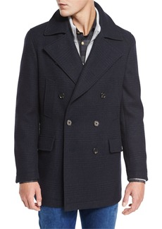 Neiman Marcus Plaid Wool Pea Coat