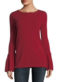 Neiman Marcus Pleated Bell-Sleeve Boat-Neck Cashmere Sweater