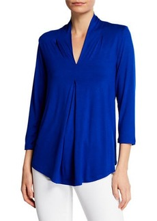 Neiman Marcus Pleated V-Neck Godet Top