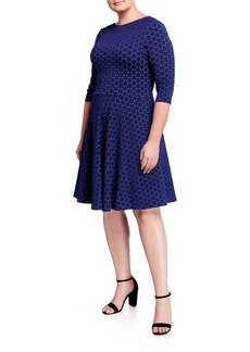 Neiman Marcus Plus Size 3/4-Sleeve Luxe Jacquard Circle Dress