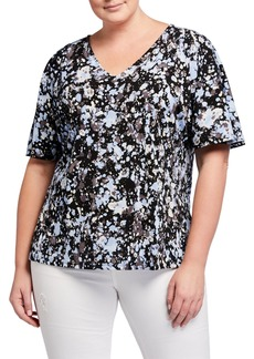 Neiman Marcus Plus Size Allie V-Neck Short-Sleeve Splatter Top