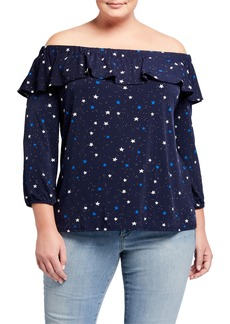Neiman Marcus Plus Size Aurora Stars Off-the-Shoulder Long-Sleeve Jersey Top