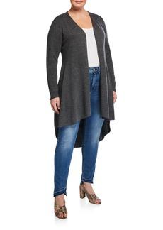 Neiman Marcus Plus Size Cashmere High-Low Circle-Hem Duster Cardigan