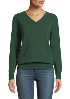 Neiman Marcus Plus Size Cashmere Relaxed V-Neck Sweater