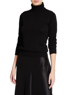 Neiman Marcus Plus Size Cashmere Ribbed Turtleneck Sweater