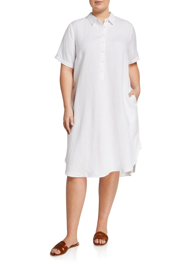 Neiman Marcus Plus Size Collared Linen Shirtdress