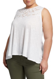 Neiman Marcus Plus Size Embroidered Applique Mesh Sleeveless Top