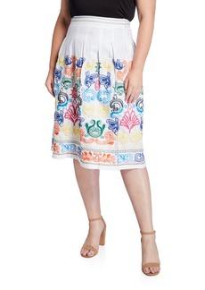 Neiman Marcus Plus Size Embroidered Midi Linen Skirt