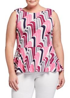 Neiman Marcus Plus Size Gina Printed Sleeveless Peplum Top