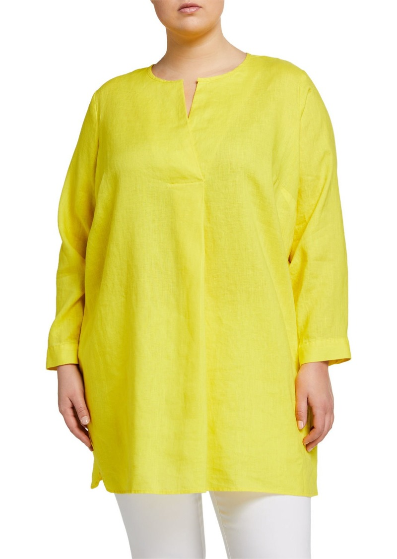 Neiman Marcus Plus Size Long-Sleeve High-Low Linen Tunic
