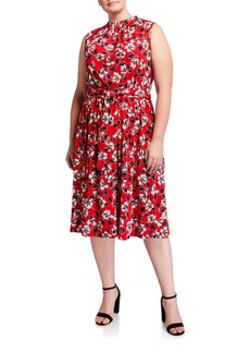 Neiman Marcus Plus Size Mindy Floral-Print Crepe Midi Dress