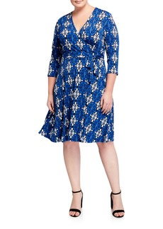 Neiman Marcus Plus Size Perfect 3/4-Sleeve Jersey Wrap Dress