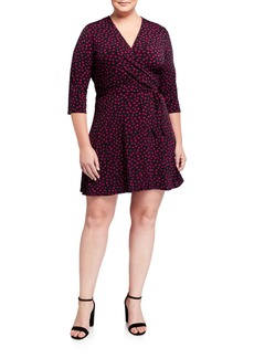 Neiman Marcus Plus Size Perfect Wrap 3/4-Sleeve Mini Dress