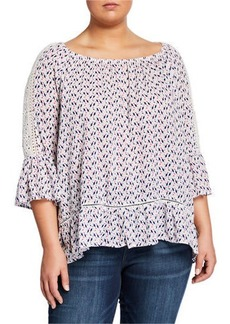 Neiman Marcus Plus Size Printed Boat-Neck Ruffle Top with Crochet Trim