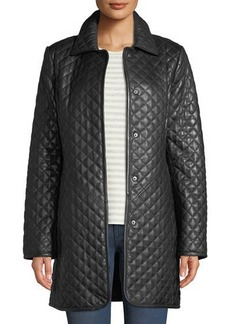 Neiman Marcus Plus Size Quilted Lamb Leather Trench Coat