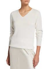 Neiman Marcus Plus Size Relaxed V-Neck Cashmere Sweater