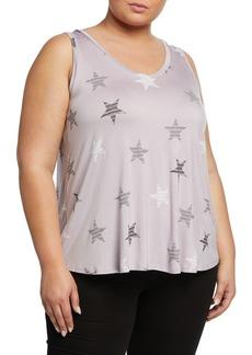 Neiman Marcus Plus Size Star-Print V-Neck Tank with Shirttail Hem