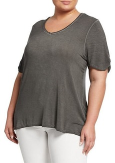 Neiman Marcus Plus Size Twisted-Short-Sleeve Viscose Top
